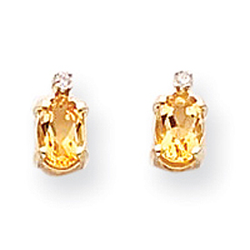 14K Gold Diamond & Citrine Birthstone Earrings. Price: $108.52