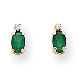 14K Gold Diamond & Emerald Birthstone Earrings. Price: $85.04