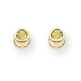 14K Gold Bezel August Peridot Post Earrings. Price: $60.00