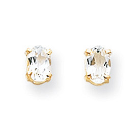14K Gold Oval April White Zircon Post Earrings. Price: $74.36