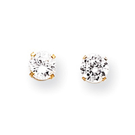14K Gold April White Zircon Post Earrings. Price: $62.96