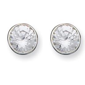 Sterling Silver 10mm CZ Round Bezel Stud Earrings. Price: $41.94