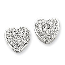 Sterling Silver With Swarovski Crystal Heart Earrings. Price: $57.72