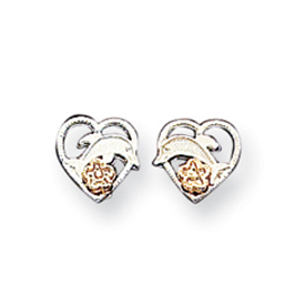 Sterling Silver  Dolphin & Heart Earrings. Price: $11.61