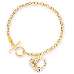 14K Gold Disney Tinker Bell Heart Charm Bracelet. Price: $704.24