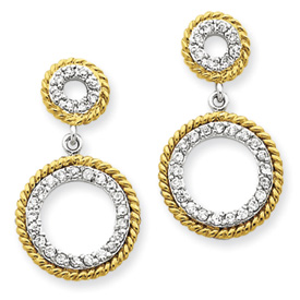 Sterling Silver & Vermeil Cubic Zirconia Circle Post Earrings. Price: $52.62