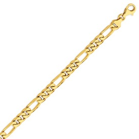 14K Gold 7mm Hand-Polished Figaro Link Bracelet. Price: $1847.85
