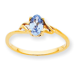 14K Gold March Aquamarine Birthstone Ring. Price: $147.62
