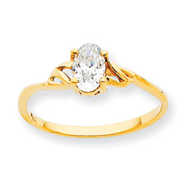14K Gold April White Topaz Birthstone Ring. Price: $157.08
