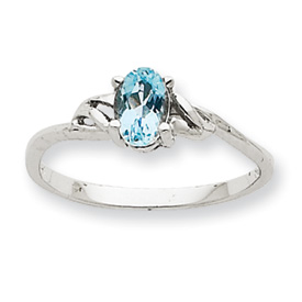 14K White Gold March Aquamarine Birthstone Ring. Price: $156.62
