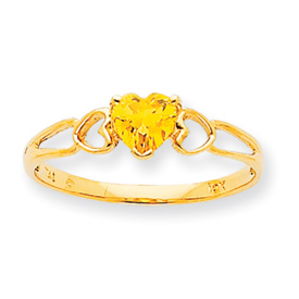 14K Gold November Citrine Birthstone Ring. Price: $130.94