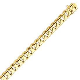 14K Gold 10mm Hand Polished Rounded Curb Bracelet. Price: $3388.97