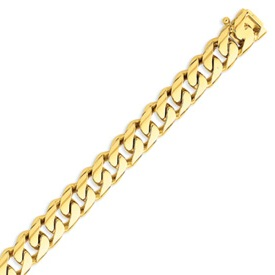 14K Gold 11mm Hand Polished Rounded Curb Bracelet. Price: $3901.79