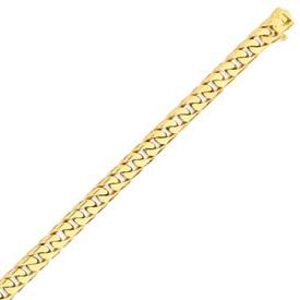 14K Gold 7.8mm Hand Polished Flat Beveled  Curb Bracelet. Price: $2029.66