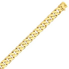 14K Gold 11.2mm Hand Polished Flat Beveled Curb Bracelet. Price: $4161.58