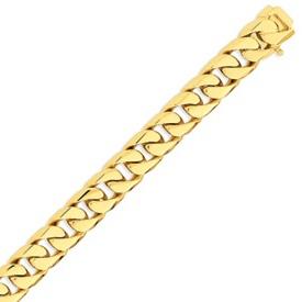 14K Gold 12.4mm Hand Polished Flat Beveled Curb Bracelet. Price: $5534.86