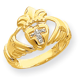 14K Gold AA Diamond Claddagh Ring. Price: $390.12