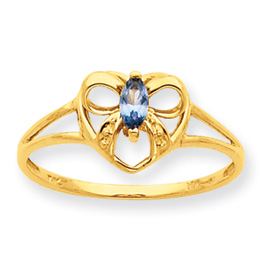 14K Gold Aquamarine March Birthstone Ring. Price: $128.66