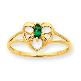 14K Gold Emerald May Birthstone Ring. Price: $128.66