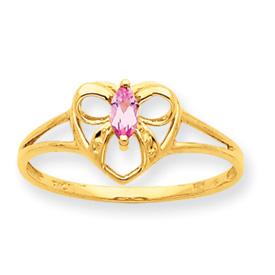 14K Gold Pink Tourmaline October Birthstone Ring. Price: $129.08
