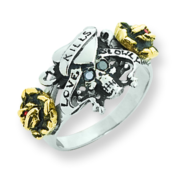 Stainless Steel & Bronze Ed Hardy 2-color Cubic Zirconia Skull/Heart Ring. Price: $32.40
