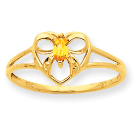 14K Gold Citrine November Birthstone Ring. Price: $128.66