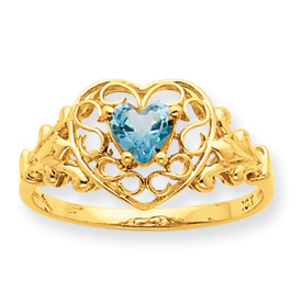 14K Gold Aquamarine March Birthstone Ring. Price: $198.44