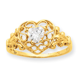 14K Gold White Topaz April Birthstone Ring. Price: $203.88