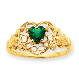 14K Gold Emerald May Birthstone Ring. Price: $198.98