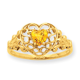 14K Gold Citrine November Birthstone Ring. Price: $198.44