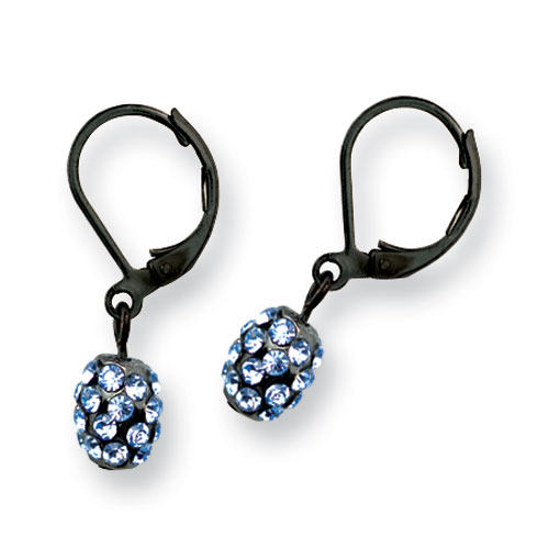 Black-plated Blue Crystal Fireball Leverback Earrings. Price: $26.67