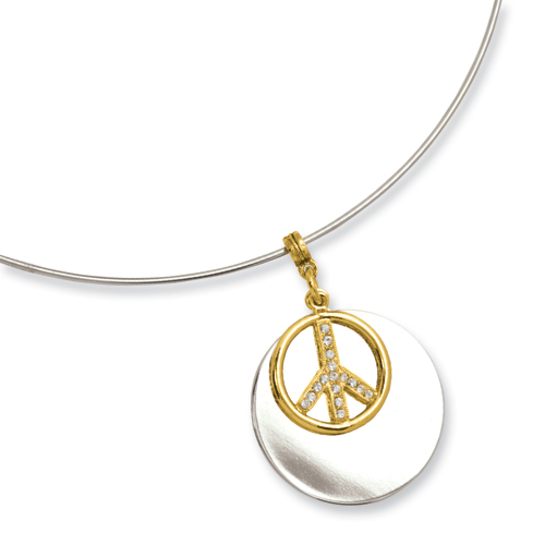 "Silver-tone With Gold-tone & Crystal Peace Symbol 17"" Choker. Price: $37.35"