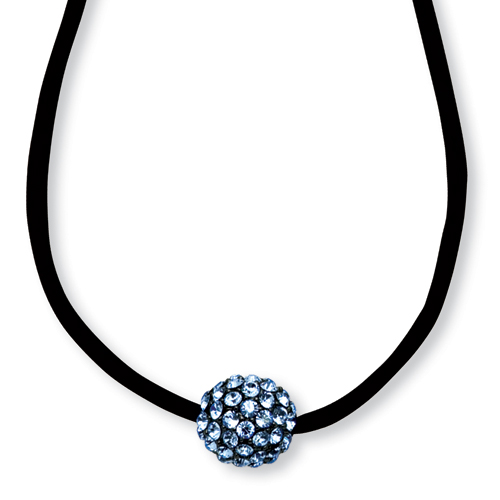 "Black-plated Blue Crystal Fireball On 16"" With Extension Satin Cord Necklace. Price: $37.35"