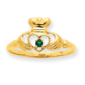 14K Gold Emerald May Birthstone Ring. Price: $128.98
