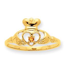 14K Gold Citrine November Birthstone Ring. Price: $130.44