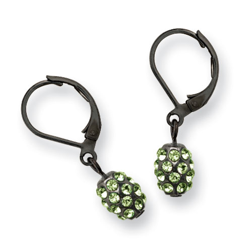 Black-plated Green Crystal Fireball Leverback Earrings. Price: $26.67