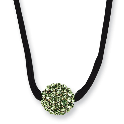Black-plated Green Crystal Fireball On 16in Wise Extension Satin Cord Necklace. Price: $37.35