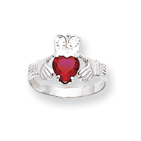 14K White Gold January Birthstone Claddagh Ring. Price: $223.60
