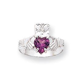 14K White Gold June Birthstone Claddagh Ring. Price: $223.60