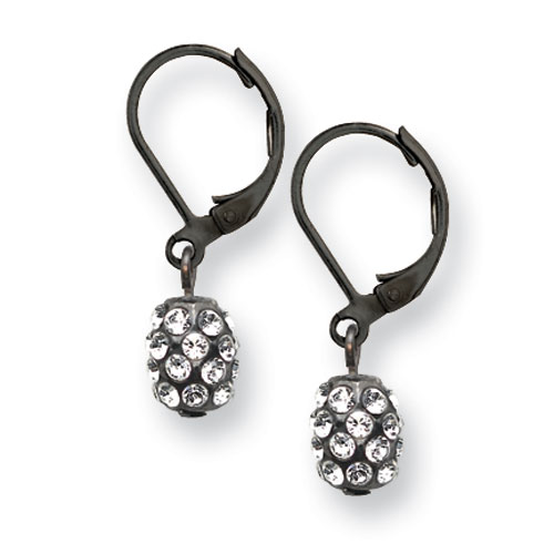 Black-plated Clear Crystal Fireball Leverback Earrings. Price: $26.67