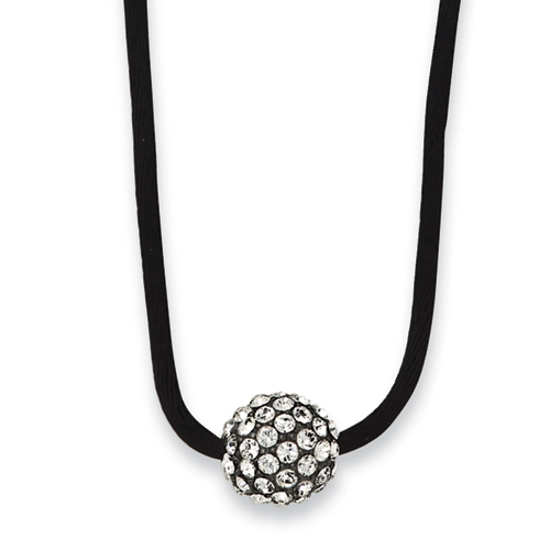 "Black-plated Clear Crystal Fireball On 16"" With Extension Satin Cord Necklace. Price: $37.35"