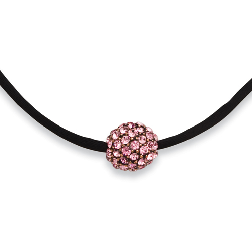 "Black-plated Pink Crystal Fireball On 16"" With Extension Satin Cord Necklace. Price: $37.35"