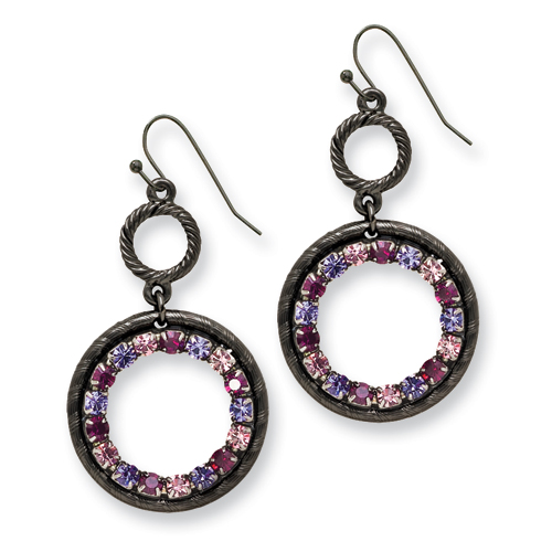 Black-plated Light & Dark Pink And Purple Crystal Circle Drop Earrings. Price: $42.69