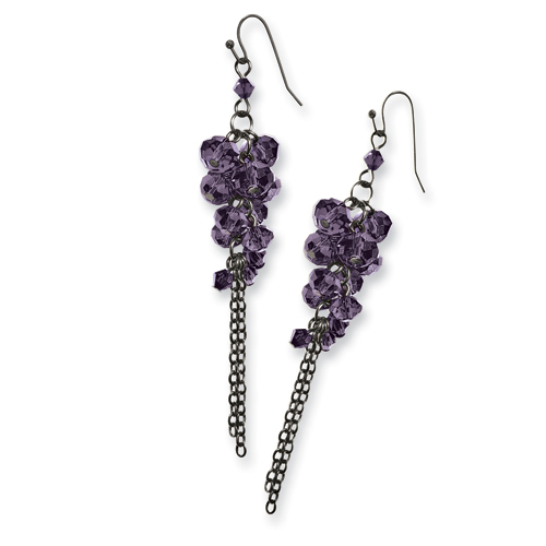Black-plated Purple Crystal Bead Cluster Drop Earrings. Price: $34.68