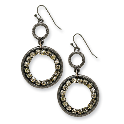 Black-plated Black Crystal Circle Drop Earrings. Price: $42.69
