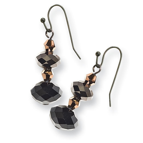 Black-plated Dark Brown Crystal Bead Drop Earrings. Price: $21.36