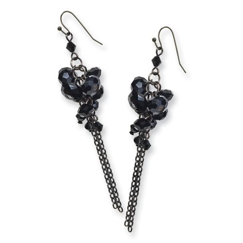 Black-plated Black Crystal Beaded Cluster Drop Earrings. Price: $34.68