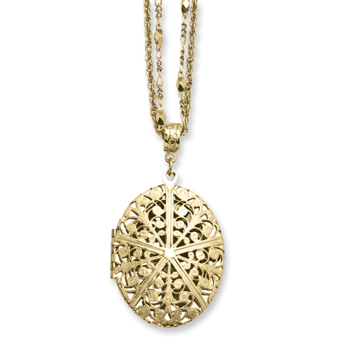 """Brass-tone Oval Locket on 16"""" Double Chain Necklace. Price: $51.56"""