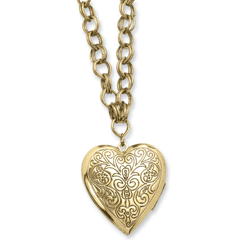 "Brass-tone Heart Locket On 28"" Necklace. Price: $50.67"