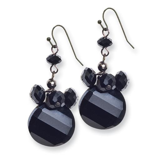 Black-plated Black Crystal Round Drop Earrings. Price: $32.01
